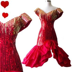 Alyce Designs Dresses - Vintage 80s Red Gold Sequin Prom Party Dress XS S